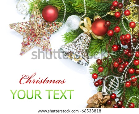 Christmas decorations border design.Isolated on white - stock photo
