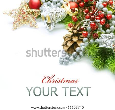 Christmas decorations border design.Isolated on white - stock photo