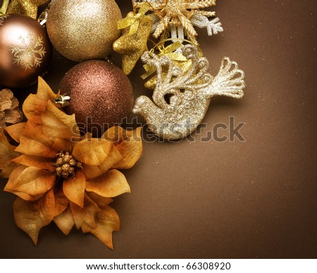Christmas Decorations border design.Vintage styled - stock photo
