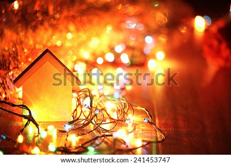 Christmas decorations Christmas gifts background - stock photo