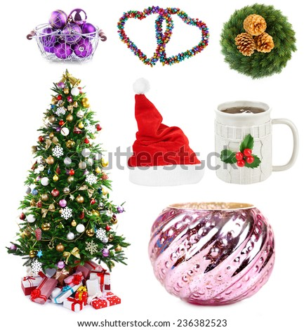 Christmas decorations collage - stock photo