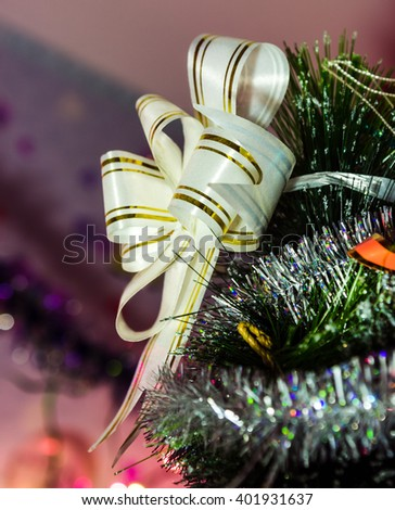 Christmas decorations, hand made a colorful background and bokeh. - stock photo