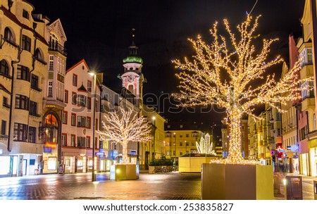 Christmas decorations in Innsbruck - Austria - stock photo
