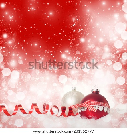 Christmas decorations in snow - stock photo
