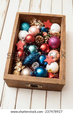 Christmas decorations in vintage drawer  - stock photo