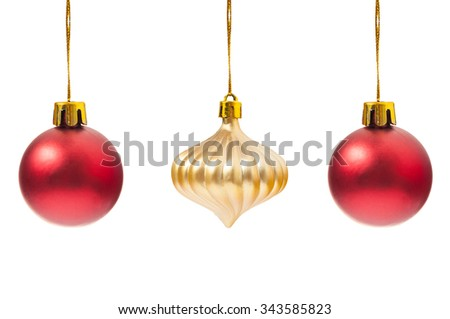 Christmas decorations isolated on white studio copy space - stock photo