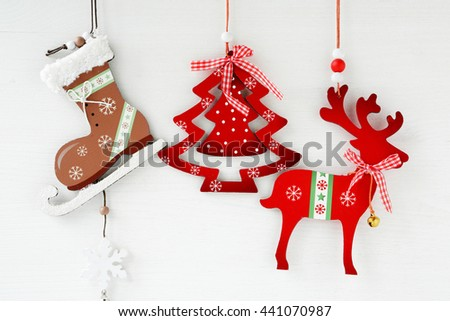 christmas decorations on white - stock photo