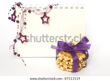 Christmas decorations on white background - stock photo