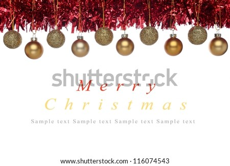 Christmas decorations - part of frame - with copyspace - stock photo