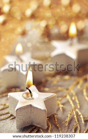 Christmas decorations with a candles. - stock photo