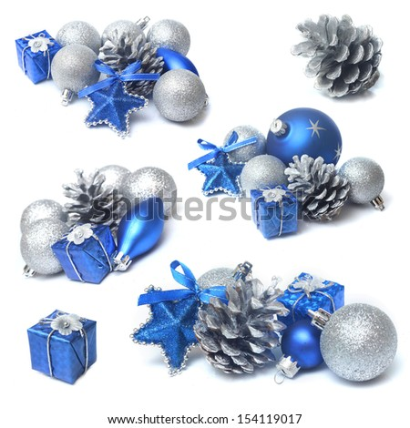 christmas decorations with blue and silver bauble - stock photo