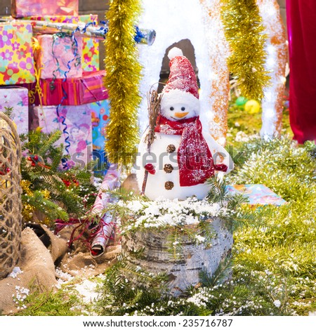 Christmas Decorations with snowman - stock photo
