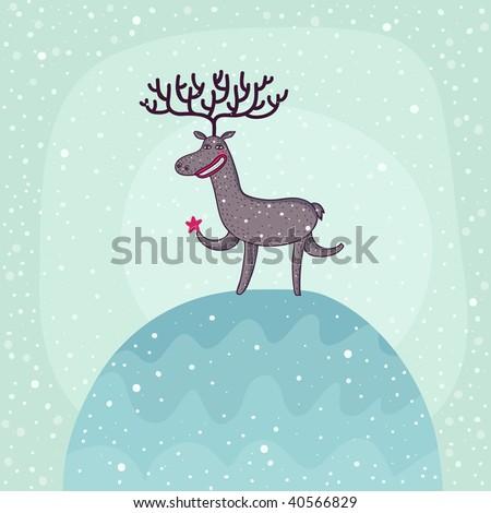 Christmas deer under snowfall - stock photo