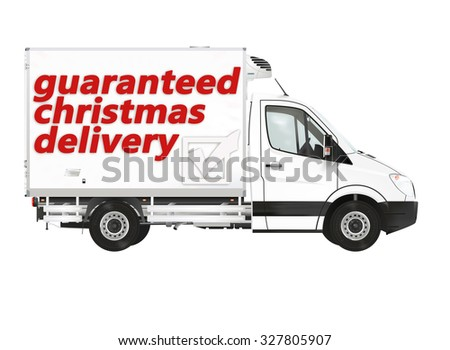 Christmas delivery. Van on the white background. Raster illustration. - stock photo