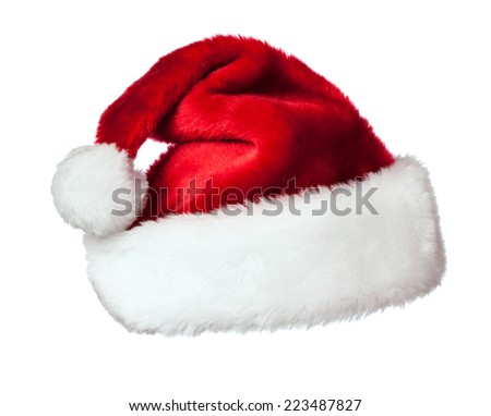 Christmas design concept background - Santa Claus hat isolated on white background - stock photo
