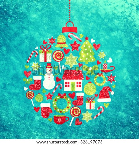 christmas design elements in the form of ball - stock photo