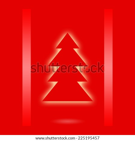 Christmas design with christmas tree on red background - stock photo