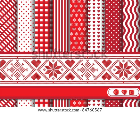 Christmas digital scrapbooking paper swatches in red and white with Scandanavian style ribbon. Also available in vector format. - stock photo
