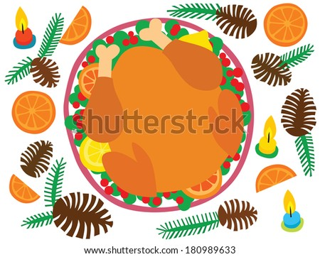 Christmas Dinner Turkey with Berries and Fruit - stock photo
