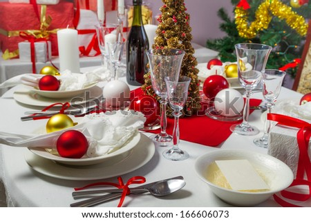 Christmas dinner was ready to serve on - stock photo