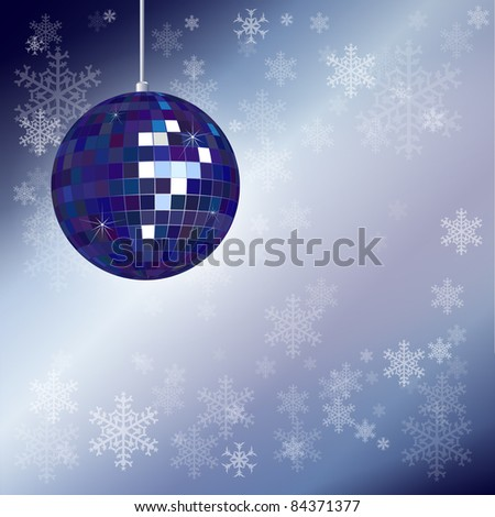 Christmas disco ball with snowflake background and space for your text. Also available in vector format. - stock photo
