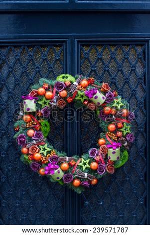 Christmas door decoration - stock photo