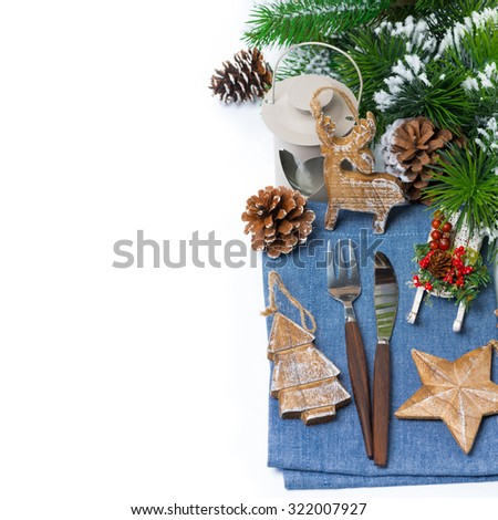 Christmas elements serving over white, isolated on white - stock photo