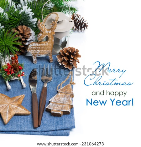 Christmas elements serving over white, top view - stock photo