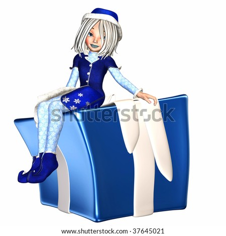 Christmas Elf sitting on a present - stock photo