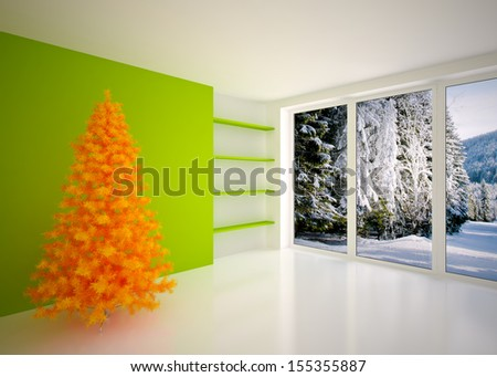 Christmas Empty interior - stock photo