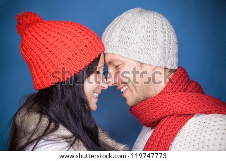 christmas enjoying pair of two - stock photo