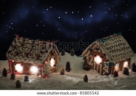 Christmas eve in the gingerbread village - stock photo