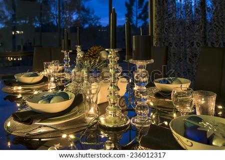 christmas eve table setting - stock photo