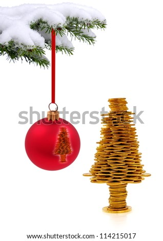 Christmas evergreen spruce tree and   golden happy tree on snow background - stock photo
