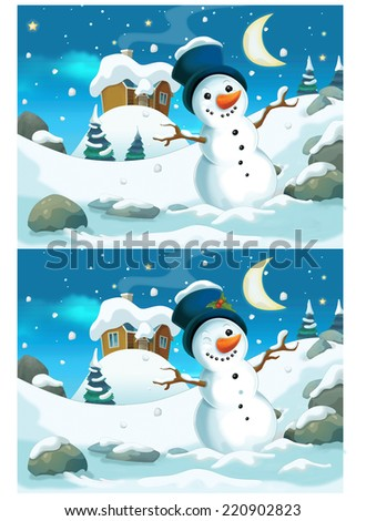 Christmas exercise - searching differences - illustration for the children - stock photo