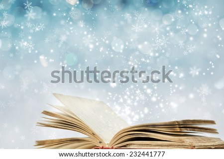 Christmas fairy-tale. Christmas background with magic book - stock photo
