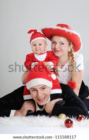 Christmas family portrait - stock photo