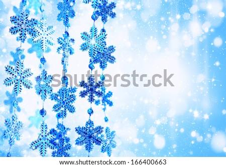 Christmas festive background with decorative snowflakes - stock photo