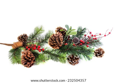 Christmas festive decoration with pine cones and red berries, christmas background - stock photo