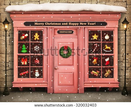 Christmas festive illustration or poster with showcase items Christmas or New Year - stock photo