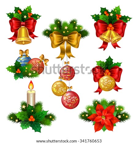 Christmas festive ornaments icons set. Decoration from christmas tree branches, christmas star, holly, balls,  and gold bells with red ribbon - stock photo