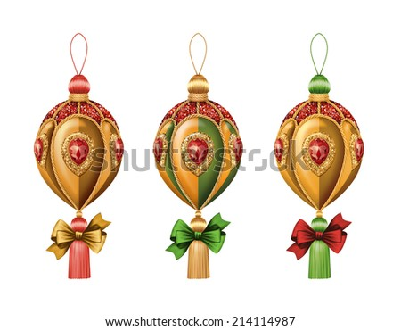 Christmas festive ornaments isolated on white background, holiday design elements, ball with bow illustration - stock photo