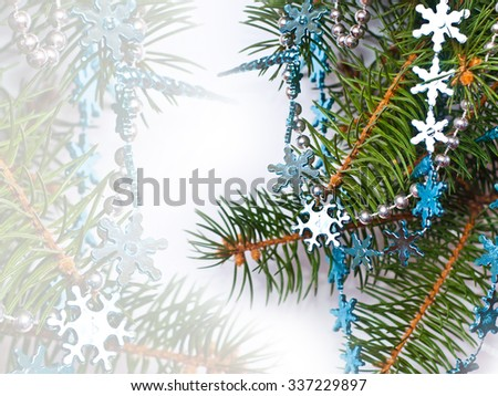 Christmas fir and blue decoration. Beautiful background, space for your text - stock photo
