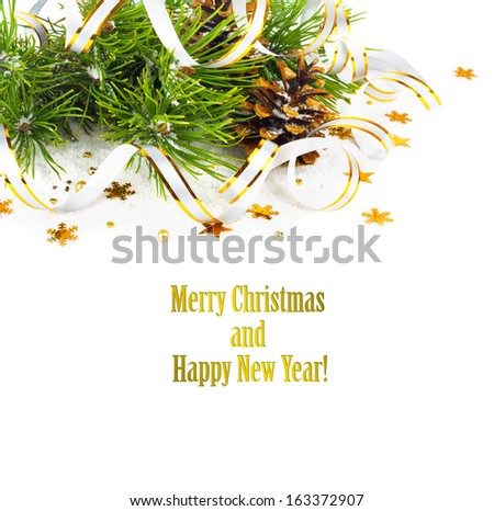 Christmas fir branch with pine cones, gold streamers and stars on a white background isolated - stock photo