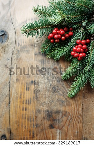 Christmas fir tree branch with holly berry - stock photo