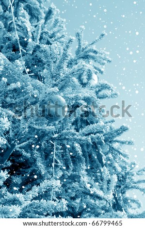 Christmas fir tree on the area of city decorated by a holiday - stock photo