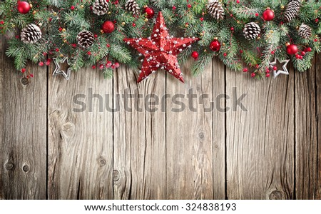 Christmas Fir Tree On Wooden Background  - stock photo