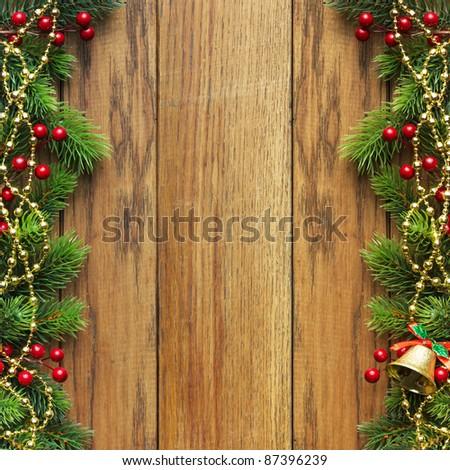 Christmas fir tree with christmas decoration - stock photo