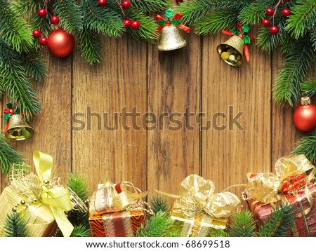 Christmas fir tree with gifts and christmas decoration - stock photo