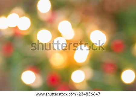 christmas fir tree  with lights   defocused background - stock photo